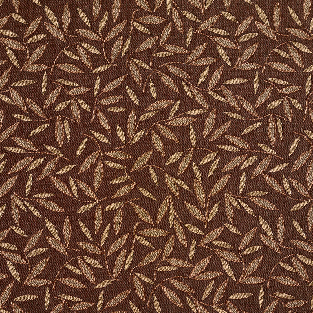 Essentials Brown Beige Leaf Branches Upholstery Drapery Fabric / Sable