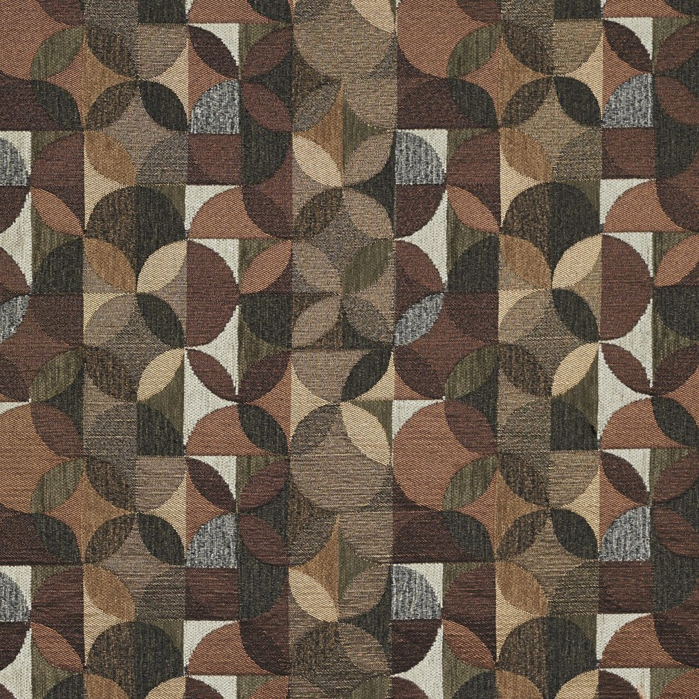 Essentials Chenille Brown Black Sage Beige Ivory Geometric Сircle Upholstery Fabric / Truffle