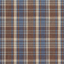 Load image into Gallery viewer, Essentials Blue Brown Beige Checkered Upholstery Drapery Fabric / Wedgewood Plaid