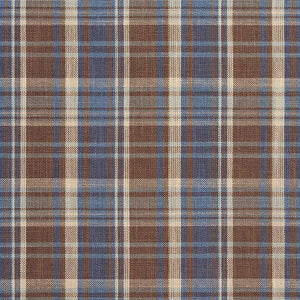 Essentials Blue Brown Beige Checkered Upholstery Drapery Fabric / Wedgewood Plaid