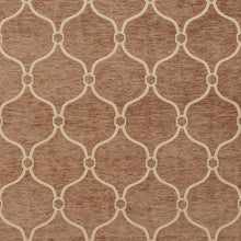 Load image into Gallery viewer, Essentials Chenille Brown Cream Geometric Trellis Upholstery Fabric