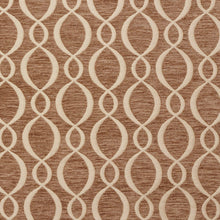 Load image into Gallery viewer, Essentials Chenille Brown Cream Oval Trellis Upholstery Fabric