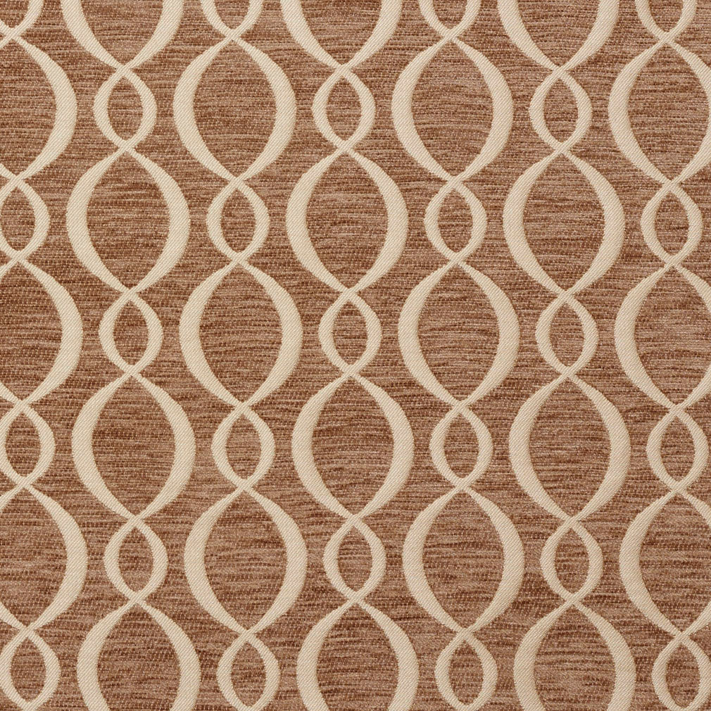 Essentials Chenille Brown Cream Oval Trellis Upholstery Fabric