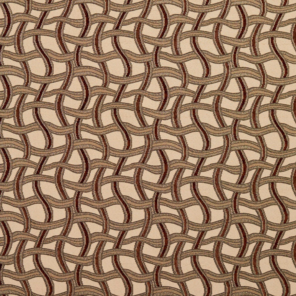 Essentials Brown Gray Tan Beige Wavy Trellis Upholstery Fabric / Spice Maze