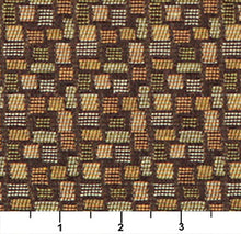 Load image into Gallery viewer, Essentials Mid Century Modern Geometric Brown Green Gold Upholstery Fabric / Pesto