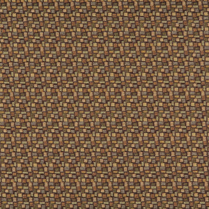 Essentials Mid Century Modern Geometric Brown Green Gold Upholstery Fabric / Pesto
