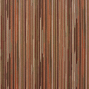 Essentials Brown Green Coral White Stripe Upholstery Fabric / Tamarack