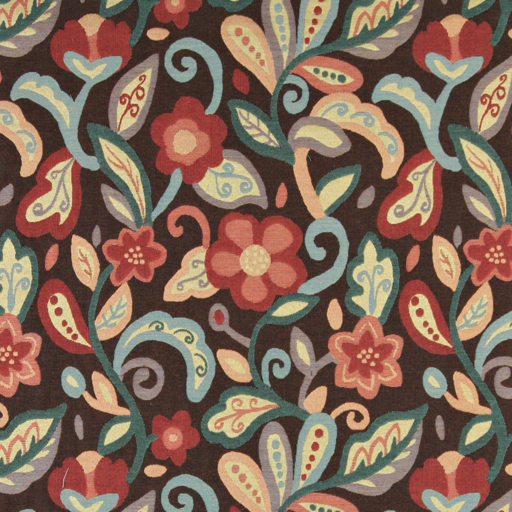 Essentials Cityscapes Brown Red Blue Teal Mustard Floral Upholstery Drapery Fabric