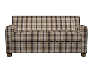 Essentials Brown Tan Beige White Checkered Upholstery Fabric / Desert Plaid
