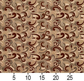 Essentials Brown Tan Gray Beige Ivory Paisley Upholstery Fabric / Spice Flutte