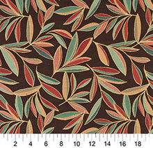 Load image into Gallery viewer, Essentials Cityscapes Brown Teal Sea Green Red Coral Mustard Leaves Upholstery Drapery Fabric