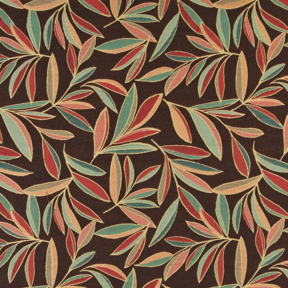 Essentials Cityscapes Brown Teal Sea Green Red Coral Mustard Leaves Upholstery Drapery Fabric