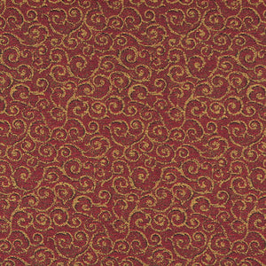 Essentials Heavy Duty Mid Century Modern Scotchgard Upholstery Fabric Burgundy Gold Paisley / Pomegranate