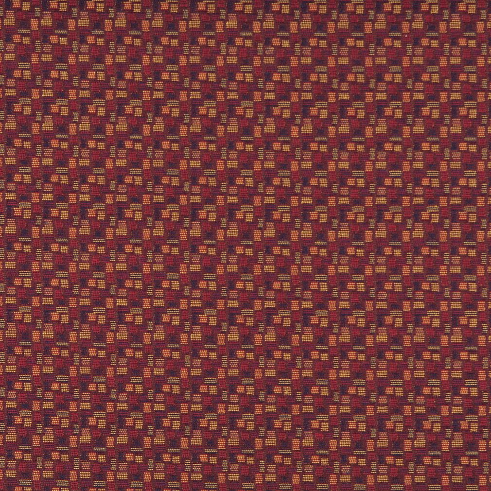Essentials Mid Century Modern Geometric Burgundy Navy Coral Upholstery Fabric / Merlot