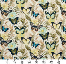 Load image into Gallery viewer, Essentials Drapery Upholstery Butterfly Fabric / Aqua Yellow Green