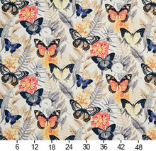 Load image into Gallery viewer, Essentials Drapery Upholstery Butterfly Fabric / Coral Blue Yellow