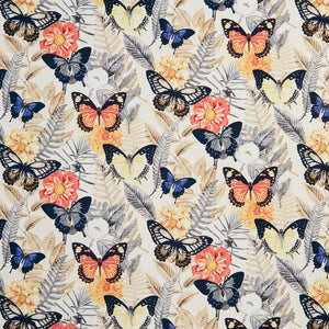 Essentials Drapery Upholstery Butterfly Fabric / Coral Blue Yellow