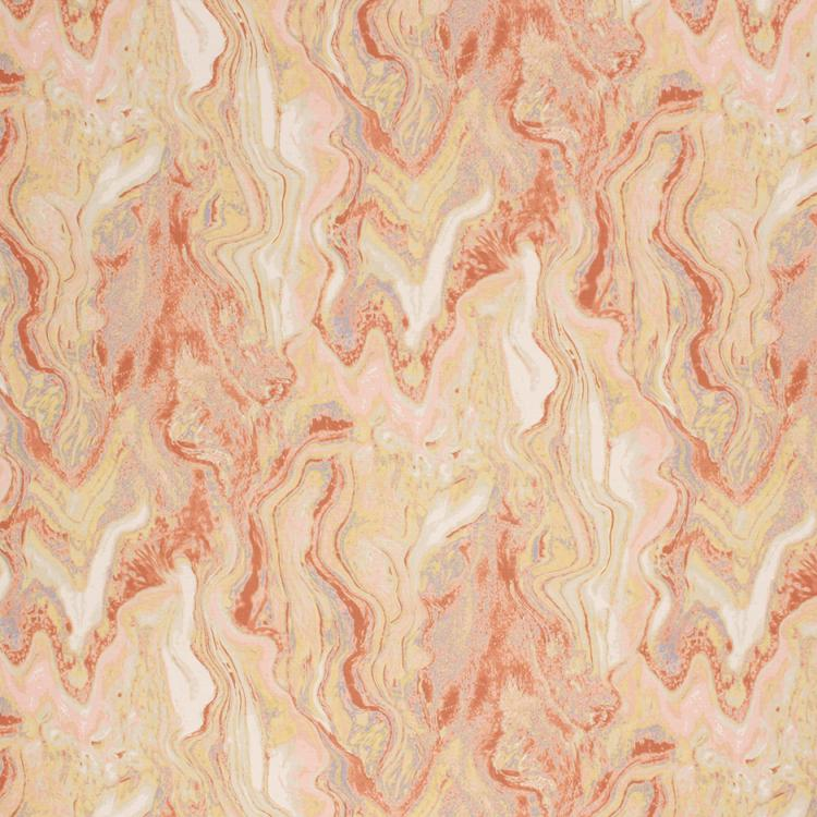 Cotton Abstract Marble Upholstery Drapery Fabric Beige Peach Cream / Canyon RMIL1