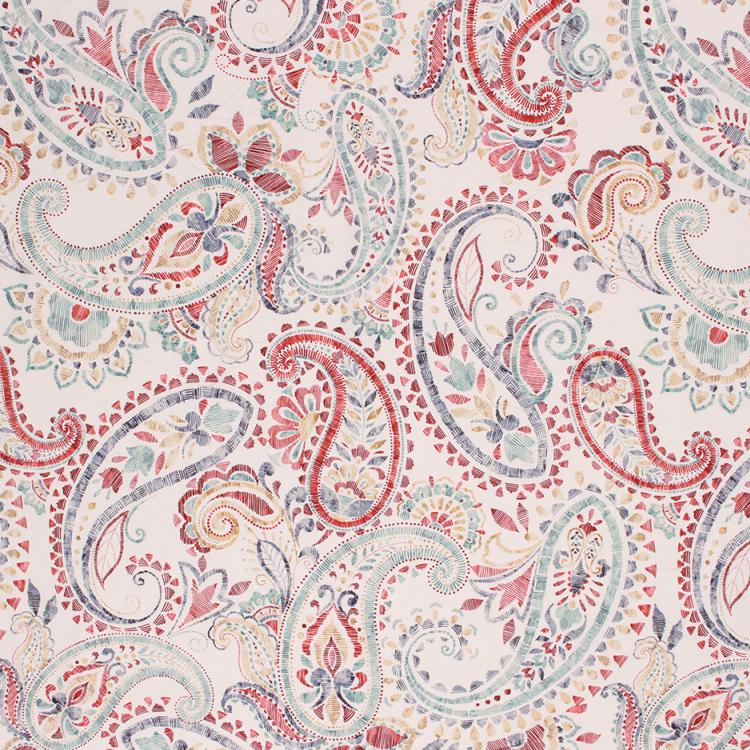 Cotton Upholstery Drapery Paisley Fabric Aqua Blue Red Cream / Carnival