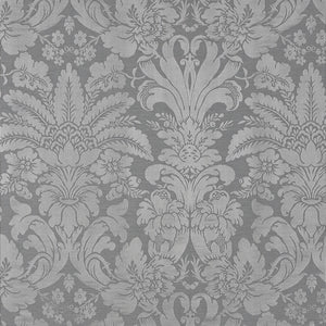 SCHUMACHER COLETTE DAMASK FABRIC / CHARCOAL