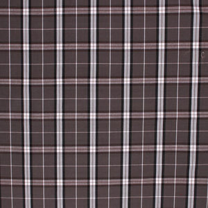 Cotton Plaid Tartan Upholstery Drapery Fabric Gray Brown / Charcoal