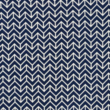 Load image into Gallery viewer, SCHUMACHER CHEVRON INDOOR OUTDOOR FABRIC / NAVY