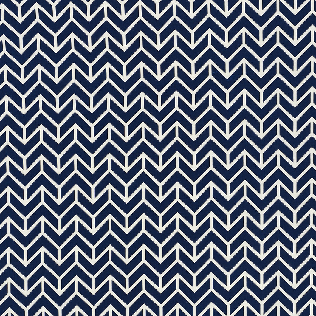 SCHUMACHER CHEVRON INDOOR OUTDOOR FABRIC / NAVY