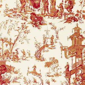 SCHUMACHER CHINOIS TOILE FABRIC / CREME & RED