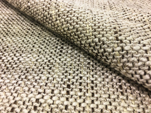 Cream Ivory Brown Woven Textured Mid Century Modern Water Resistant Upholstery Fabric