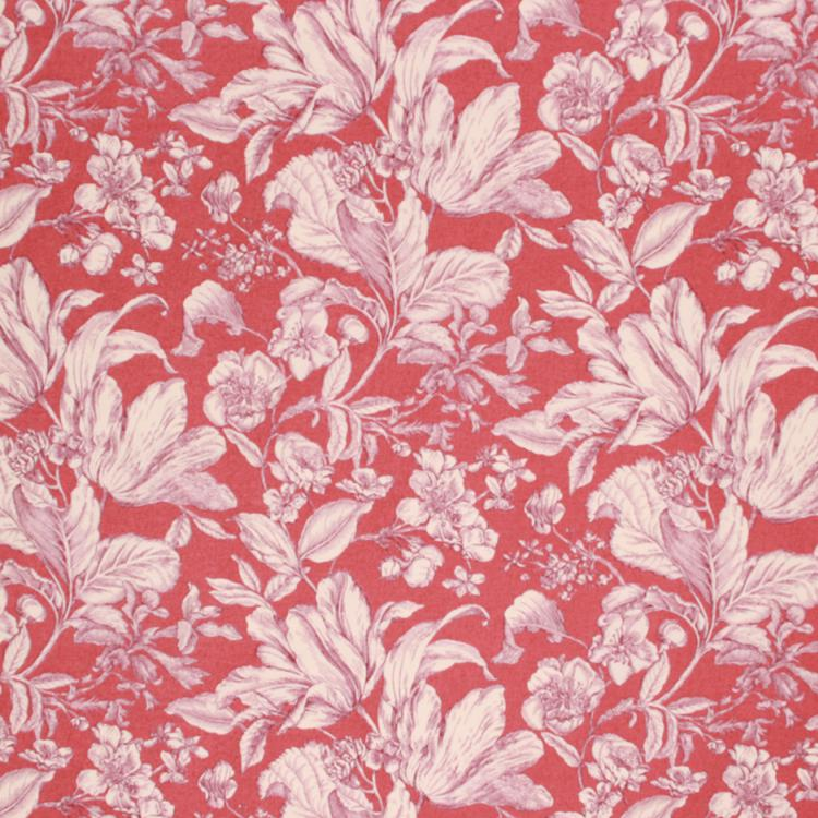 Soil Repellent Floral Cotton Drapery Upholstery Fabric Rusty red Cream / Claret RMIL1