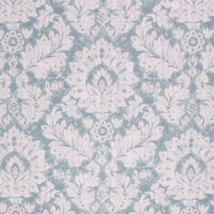 Cotton Duck Damask Upholstery Drapery Fabric Aqua Teal / Clearwater RMIL1