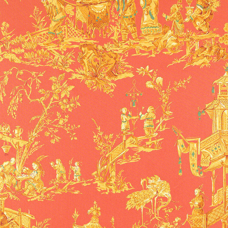 SCHUMACHER CHINOIS TOILE FABRIC / CORAL