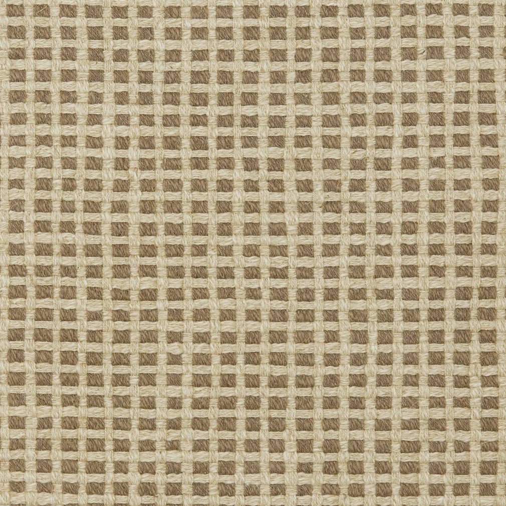 Essentials Linen Cotton Upholstery Checkered Fabric / Brown Beige
