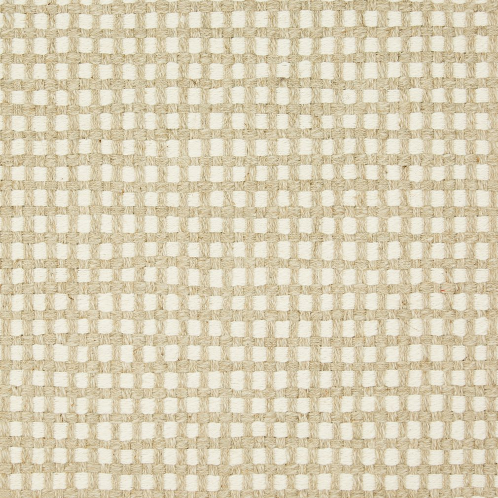 Essentials Linen Cotton Upholstery Checkered Fabric / White Beige