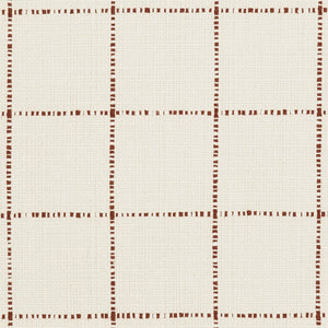 Essentials Linen Cotton Upholstery Checkered Fabric / White Brown