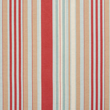Load image into Gallery viewer, Essentials Coral Beige Aqua White Stripe Upholstery Drapery Fabric