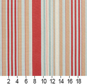 Essentials Coral Beige Aqua White Stripe Upholstery Drapery Fabric