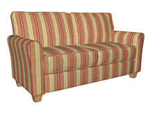 Load image into Gallery viewer, Essentials Coral Maroon Olive Mediumsea Green White Stripe Upholstery Drapery Fabric