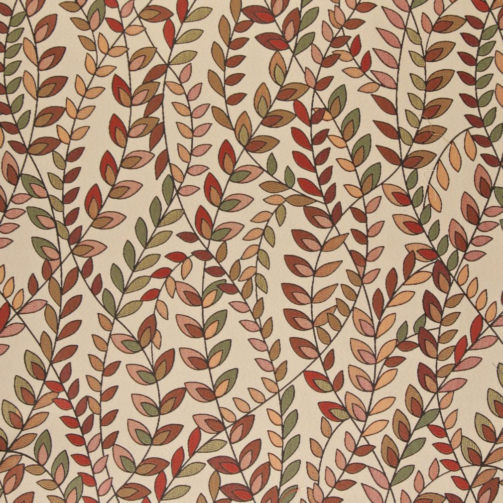 Essentials Cityscapes Coral Maroon Sage Pink Botanical Leaf Upholstery Fabric