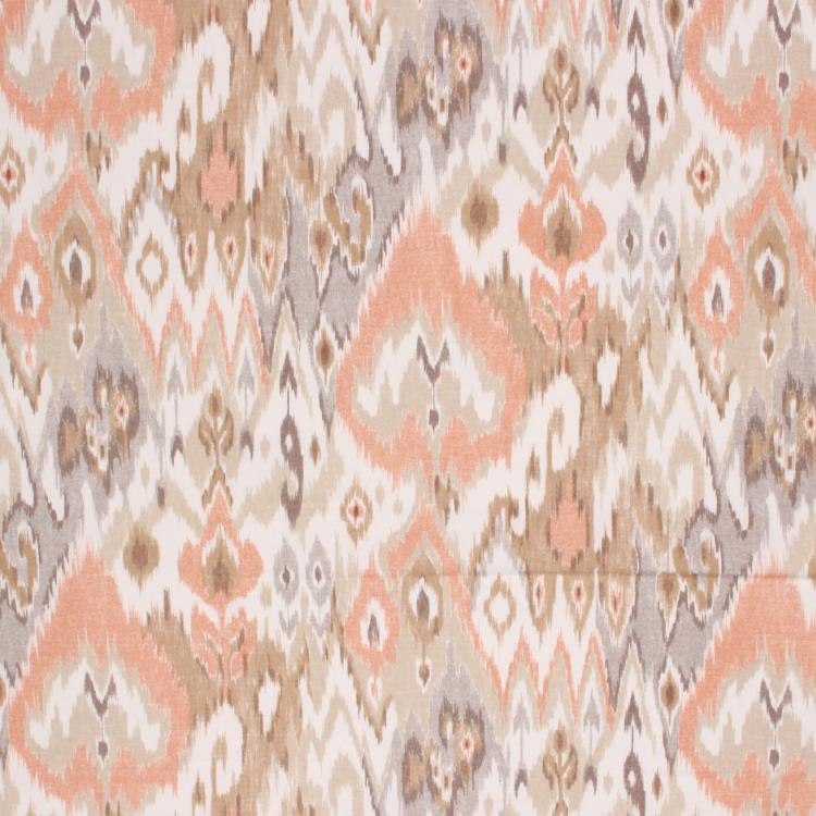 Cotton Drapery Ikat Ethnic Fabric Coral Gray Beige / Coral Reef