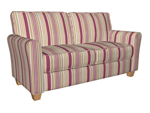 Essentials Crimson Salmon Beige Coral White Stripe Upholstery Drapery Fabric
