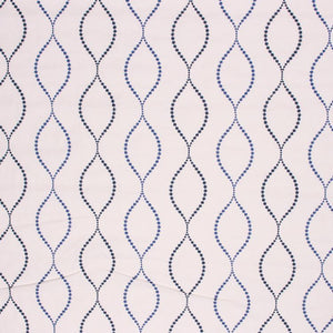 Embroidered Cotton Trellis Drapery Fabric Beige Navy / Denim RMIL1