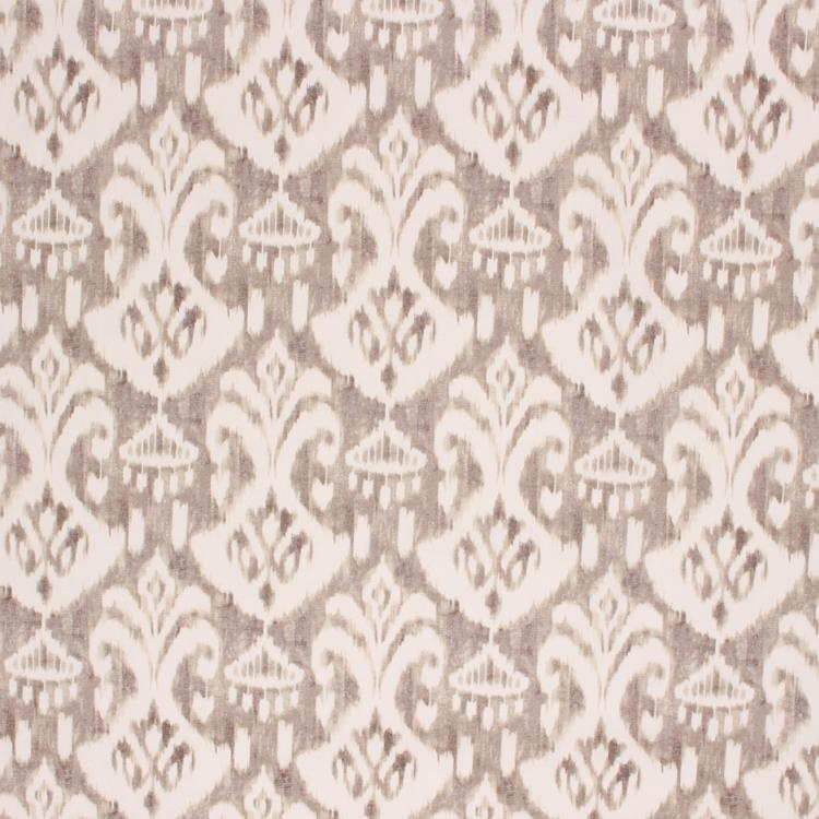 Cotton Ikat Ethnic Drapery Upholstery Fabric Gray Cream / Driftwood