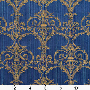 Essentials Upholstery Drapery Damask Strie Fabric Blue Gold / Regal Victorian