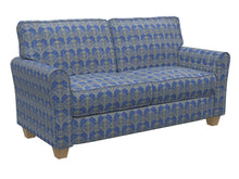 Load image into Gallery viewer, Essentials Upholstery Drapery Damask Strie Fabric Blue Gold / Regal Victorian
