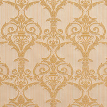 Load image into Gallery viewer, Essentials Upholstery Drapery Damask Strie Fabric Ivory Gold / Antique Victorian