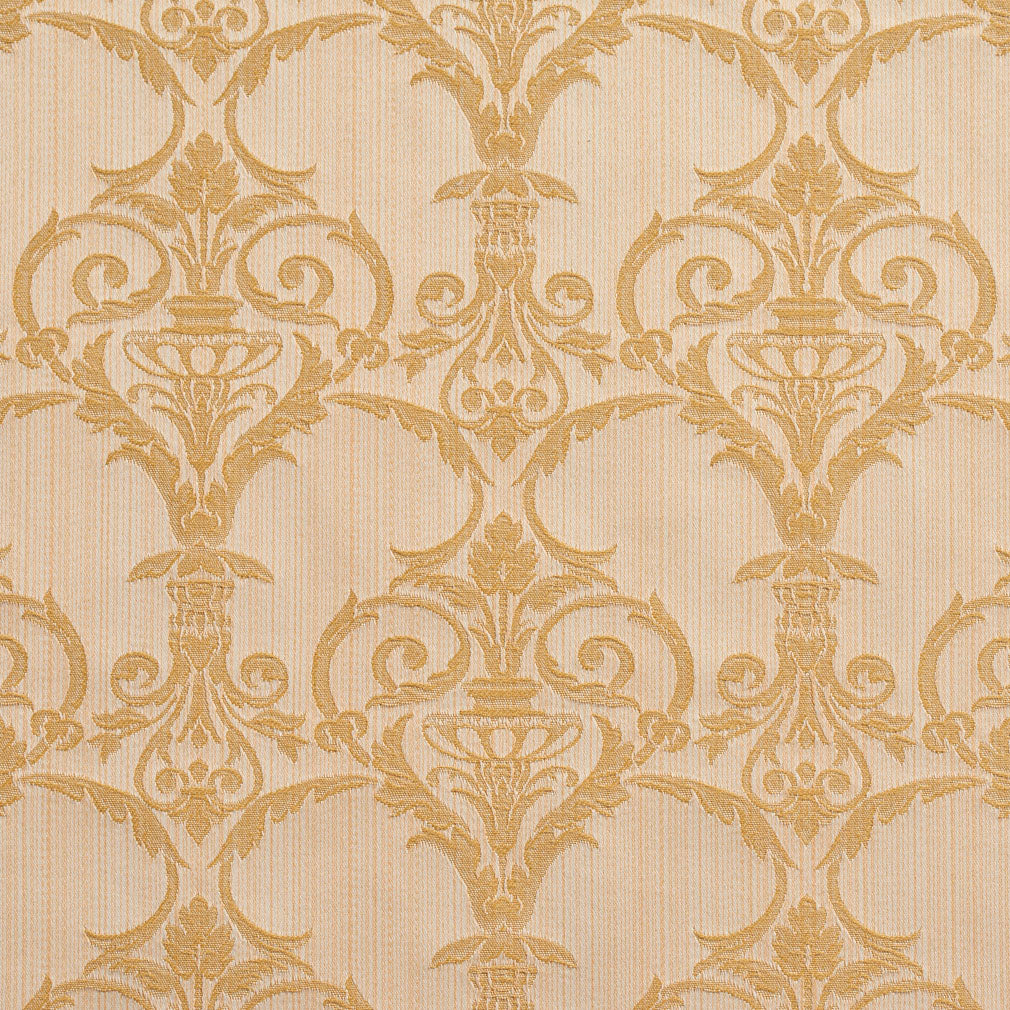 Essentials Upholstery Drapery Damask Strie Fabric Ivory Gold / Antique Victorian