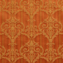 Load image into Gallery viewer, Essentials Upholstery Drapery Damask Strie Fabric Orange Gold / Amber Victorian