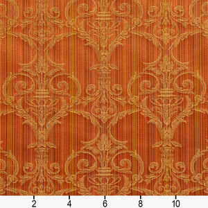 Essentials Upholstery Drapery Damask Strie Fabric Orange Gold / Amber Victorian