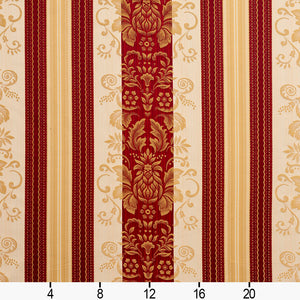 Essentials Upholstery Drapery Damask Stripe Fabric Burgundy Cream Gold / Ruby Vintage